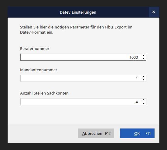 FiBu-Export Einstellungen