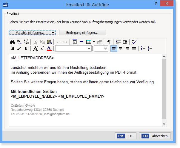 formatierbare E-Mail-Texte