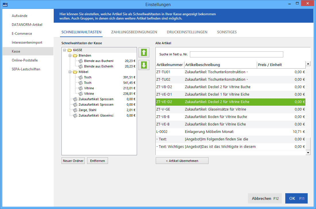 Registrierkasse: Schnellwahltasten-Bildschirm | orgaMAX Bürosoftware