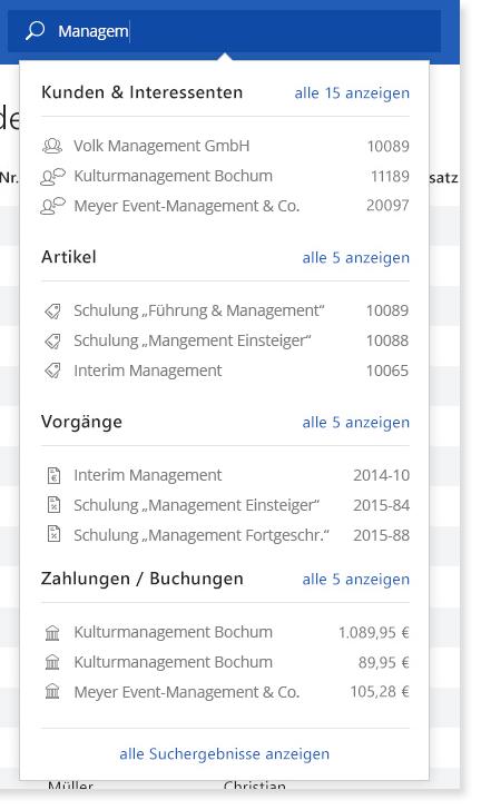Zentrale Suche: Beispiel Sucheingabe | orgaMAX Bürosoftware