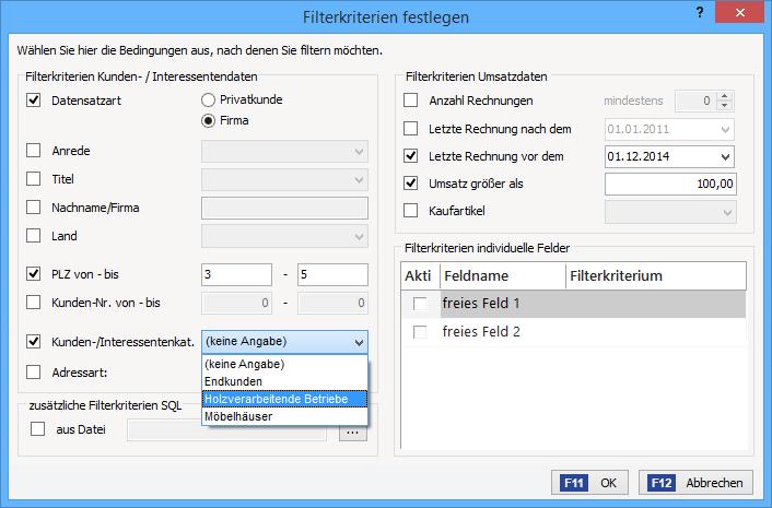 Interessenten und Marketing: Filterkriterien festlegen | orgaMAX Bürosoftware