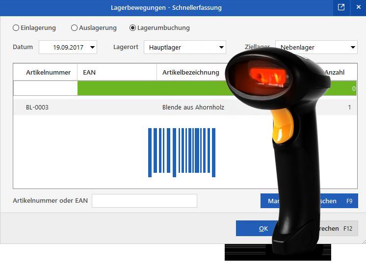 Praxisbeispiel Bestandserfassung und -umbuchung per EAN-Scanner: orgaMAX Lagerbewegung