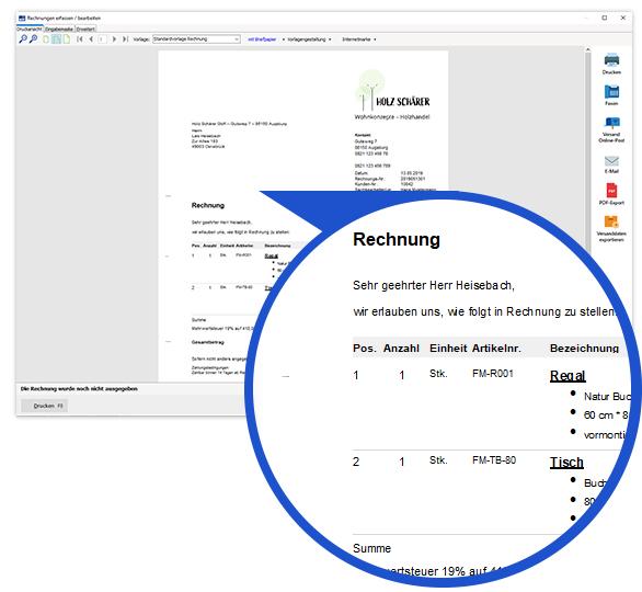 Rechnungsstellung im Warenwirtschaftssystem orgaMAX