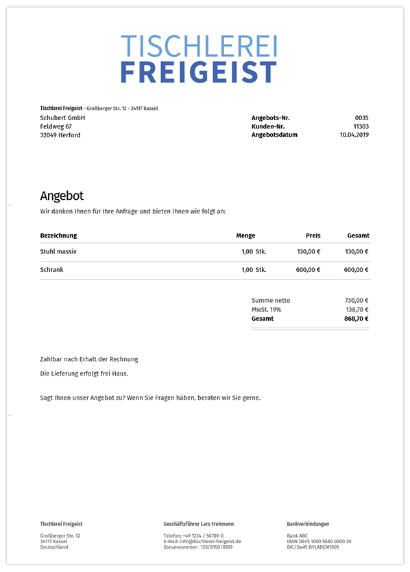 Angebotsvorlagen in orgaMAX Onlinebüro