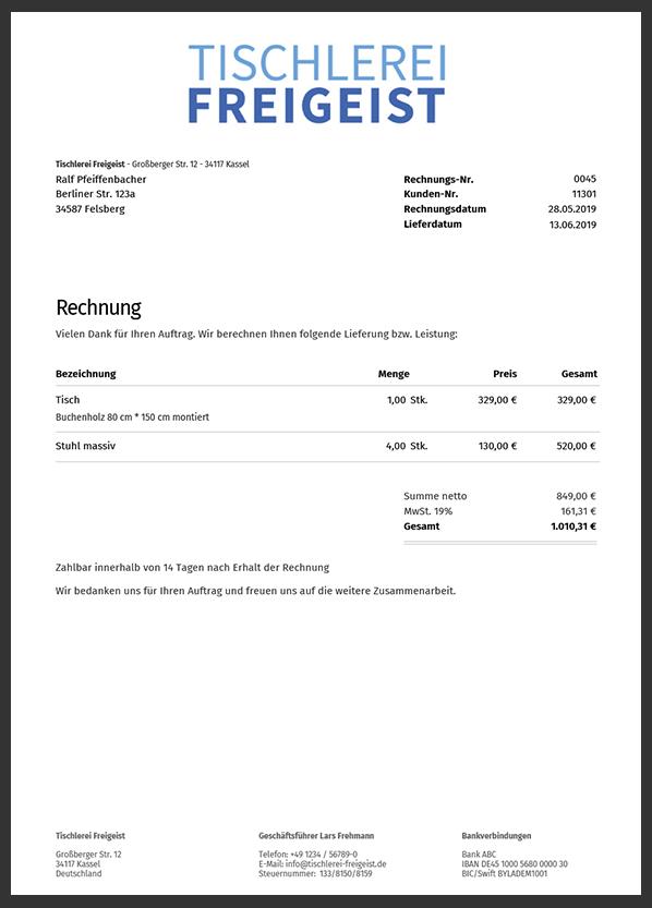 Online Rechnung Druckvorschau