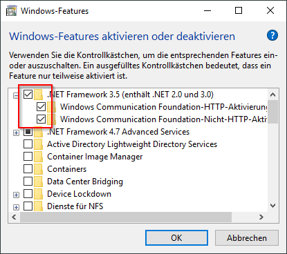 """Résultat de recherche d'images pour """"Aktivieren Sie das Kontrollkästchen.NET Framework 3.5"""""""