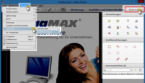 PDF-Reader: Anmerkungen und Grafikmarkierungen | orgaMAX Bürosoftware