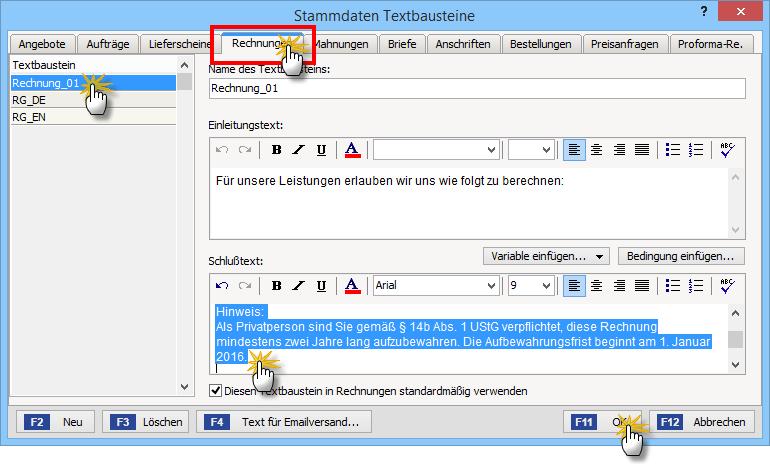 Verwaltung von Textbausteinen | orgaMAX Bürosoftware