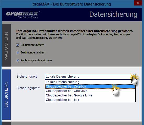 Datensicherung | Einstellung Sicherungsort | orgaMAX Praxistipp
