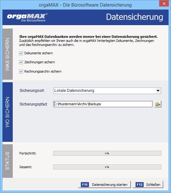Datensicherung | Ansicht Datensicherungs-Dialog | orgaMAX Praxistipp