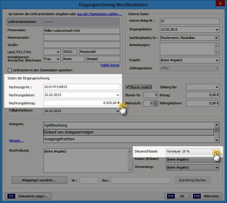 Anlage einer Eingangsrechnung | orgaMAX Steuertipp