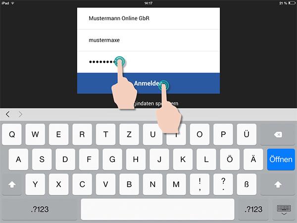 Beispiel: Anmeldung in der Mobile App | orgaMAX Bürosoftware