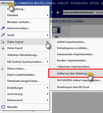 Übernahme von Artikeln aus dem Webshop in den orgaMAX Artikelstamm | orgaMAX Bürosoftware