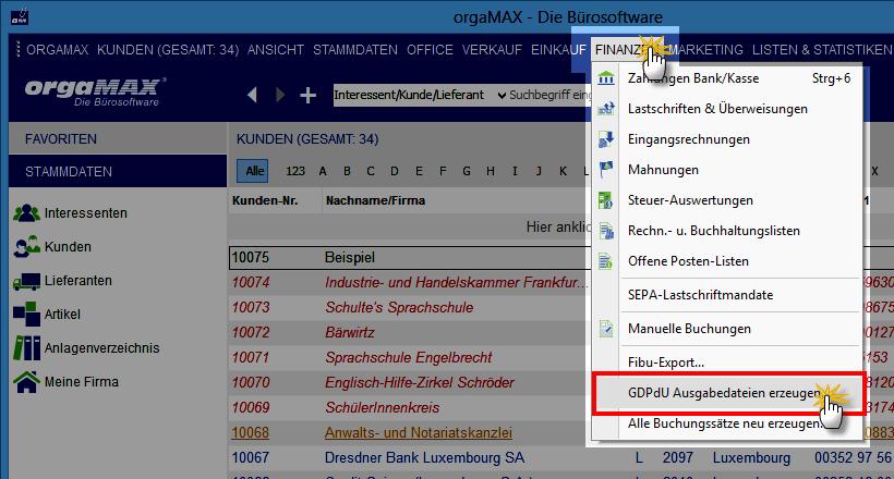 Erzeugung von GDPdU-Ausgabedateien: Vorgehensweise | orgaMAX Bürosoftware