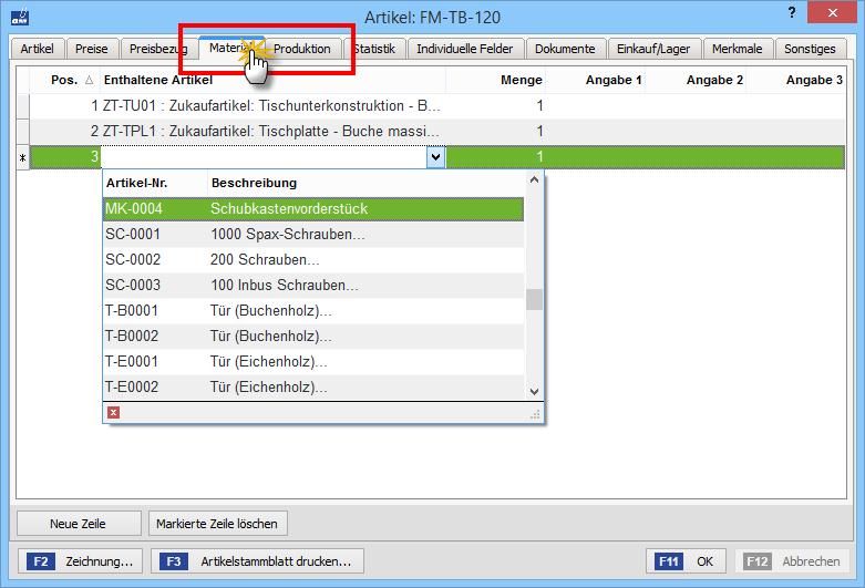 Zusatzmodul Produktion: Eingabe des Materialbedarfs | orgaMAX Bürosoftware