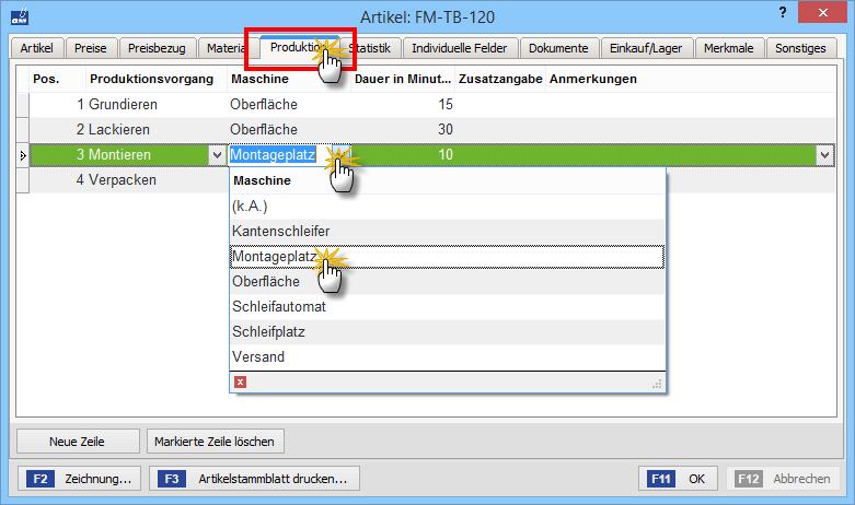 Zusatzmodul Produktion: Registerblatt Produktion | orgaMAX Bürosoftware