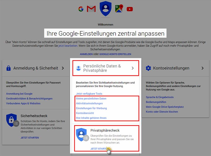 Durchführung des Google Privatsphärechecks | orgaMAX Bürosoftware