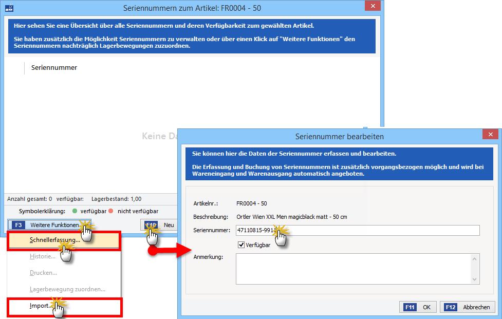 Vorgehensweise bei der Schnellerfassung von Seriennummern | orgaMAX Bürosoftware