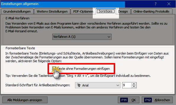 RTF-Editor: Texte ohne Formatierungen einfügen | orgaMAX Praxistipp