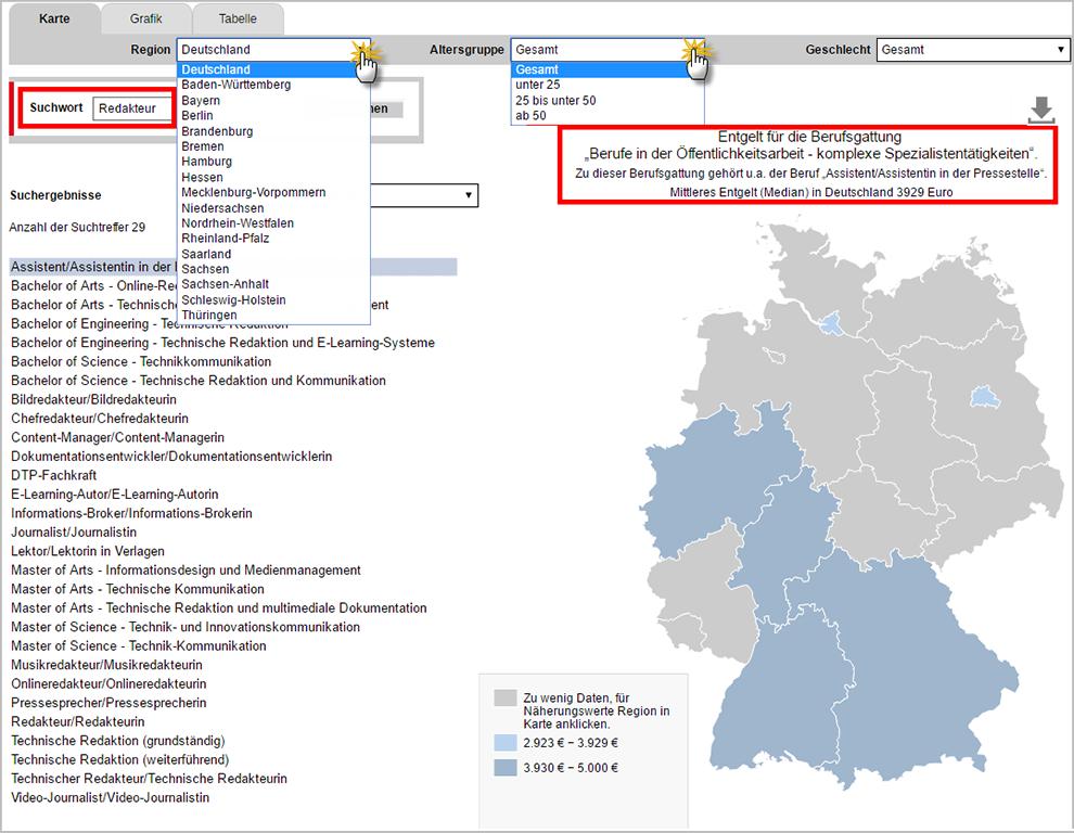 Navigation: Entgeltatlas der Bundesagentur für Arbeit | orgaMAX Bürosoftware