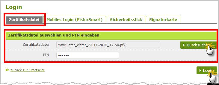 Einspruch gegen Steuerbescheide: Zertifikatsdatei im ElsterOnline-Portal | orgaMAX Bürosoftware