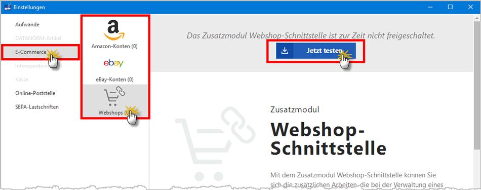 Zusatzmodul Webshopschnittstelle testen | orgaMAX Bürosoftware