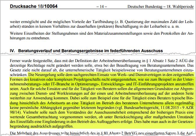 Werkvertrags-Novelle | Protokollauszug Bundestagsausschuss | orgaMAX Bürosoftware