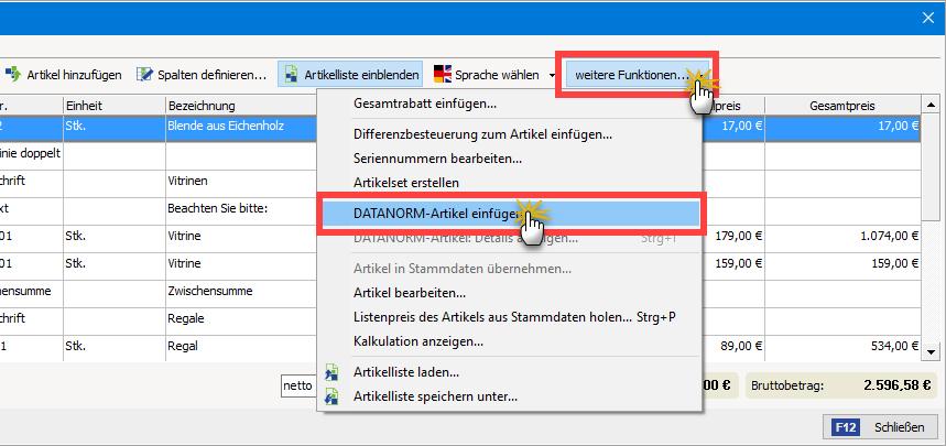 Vorgehensweise beim Einfügen von DATANORM-Artikeln | orgaMAX Bürosoftware