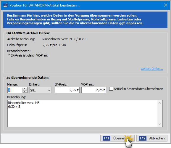Bearbeitung der DATANORM-Bezeichnung, Mengen- und Preisangaben | orgaMAX Bürosoftware