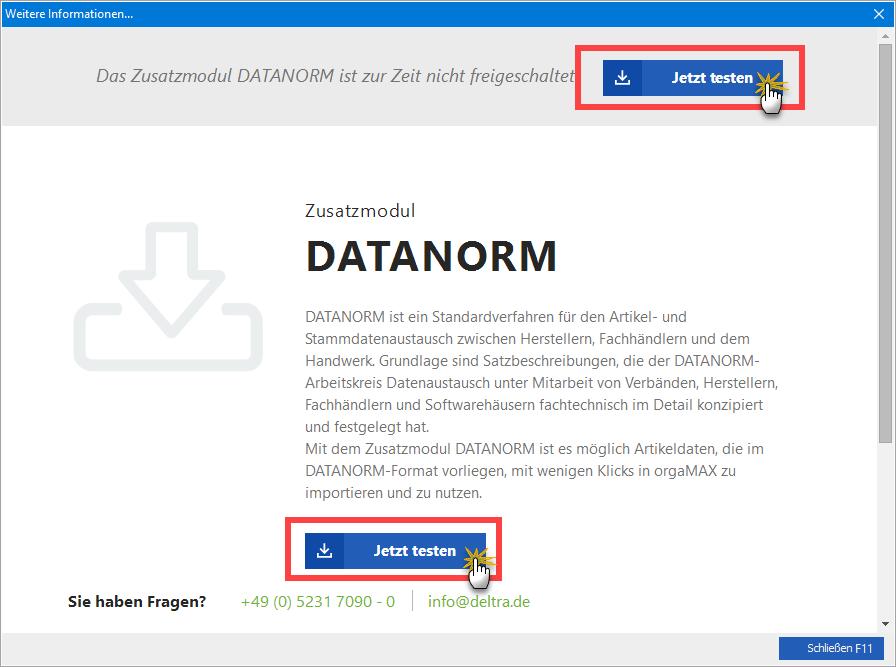 DATANORM-Zusatzmodul jetzt testen! | orgaMAX Bürosoftware