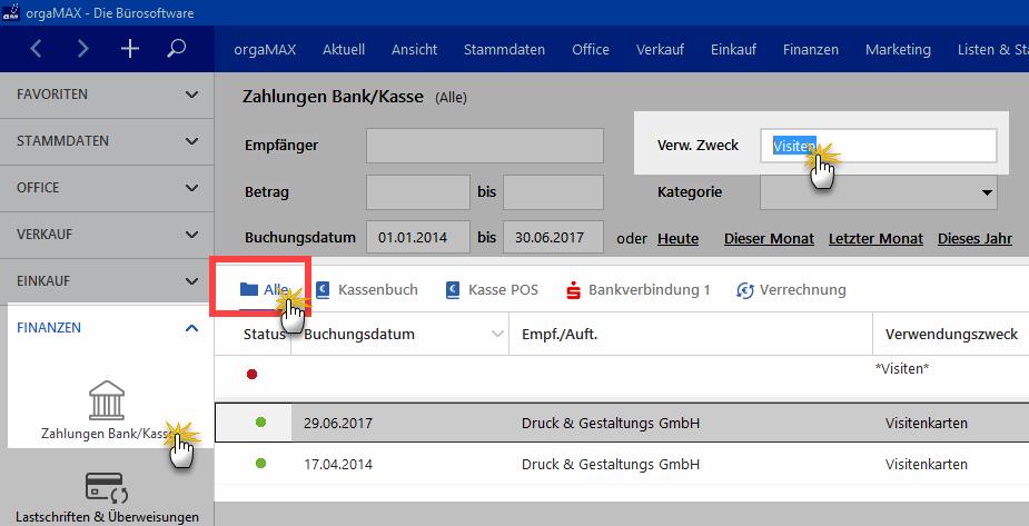 Filter in Zahlungen Bank/Kasse: Alle-Ansicht | orgaMAX Bürosoftware