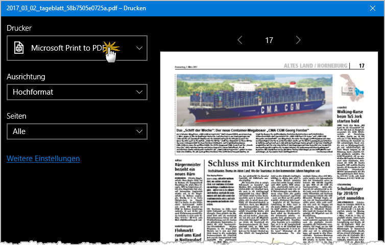 PDFs filetieren: Auszug aus virtueller PDF-Druckfunktion | orgaMAX Bürosoftware