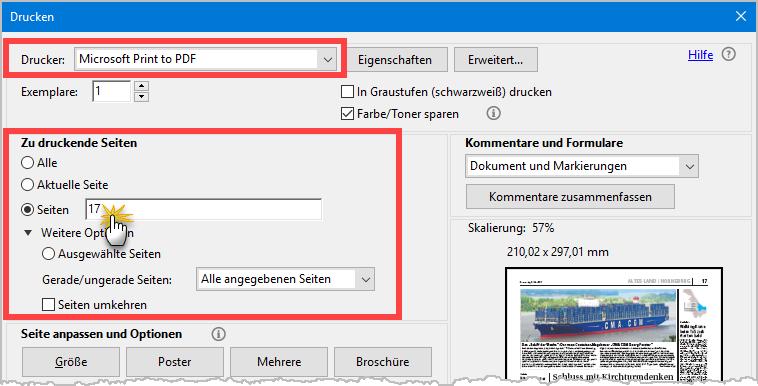 PDFs filetieren: Auszug aus Druckfunktion1 | orgaMAX Bürosoftware