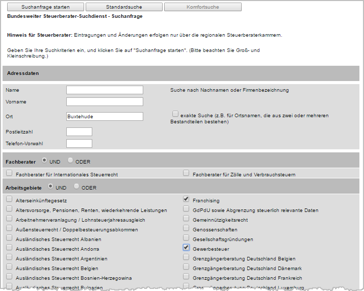 Suchmaske des bundesweiten Steuerberater-Suchdienstes | orgaMAX Bürosoftware