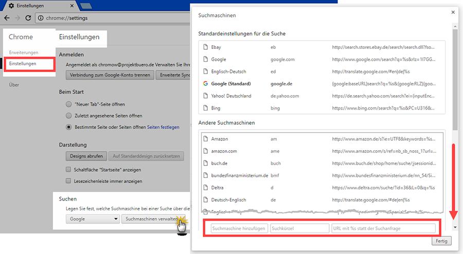 Spezial-Suchmaschine | Standardeinstellungen für die Suche | orgaMAX Bürosoftware