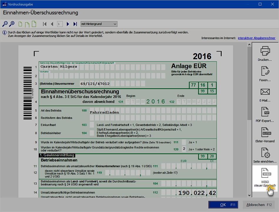 Datenexport aus dem WISO Steuer:Sparbuch | orgaMAX Bürosoftware