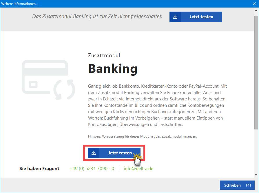 Banking testen & freischalten