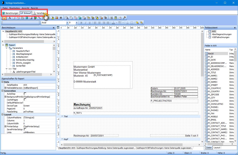 Vorlagen-Designer Screen orgaMAX